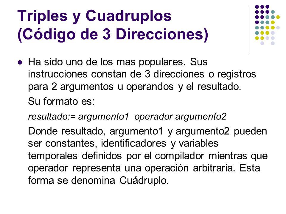 Triples y Cuadruplos (Código de 3 Direcciones)