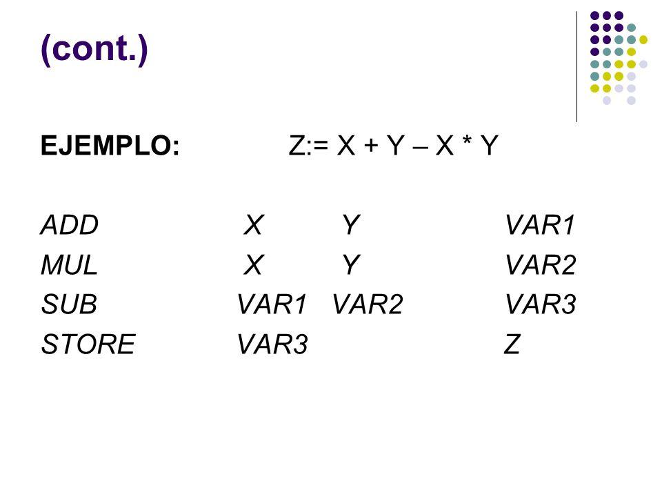 (cont.) EJEMPLO: Z:= X + Y – X * Y ADD X Y VAR1 MUL X Y VAR2