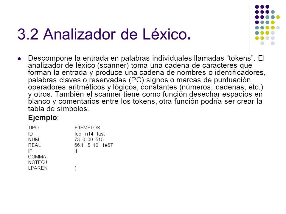 3.2 Analizador de Léxico.