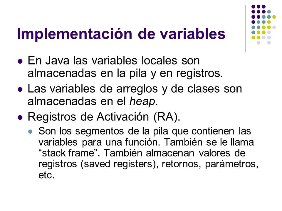 Implementación de variables