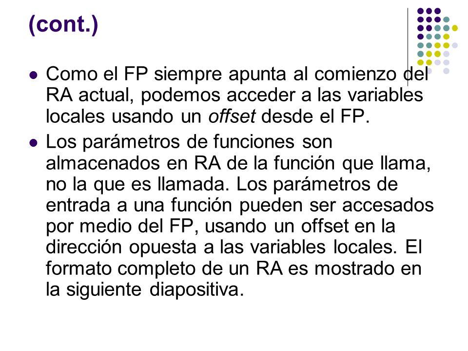(cont.) Como el FP siempre apunta al comienzo del RA actual, podemos acceder a las variables locales usando un offset desde el FP.