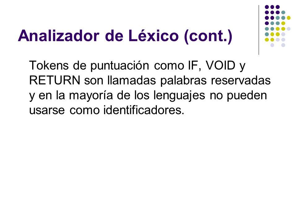 Analizador de Léxico (cont.)