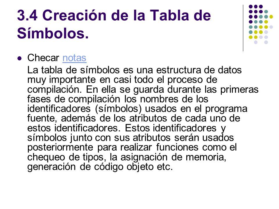 3.4 Creación de la Tabla de Símbolos.