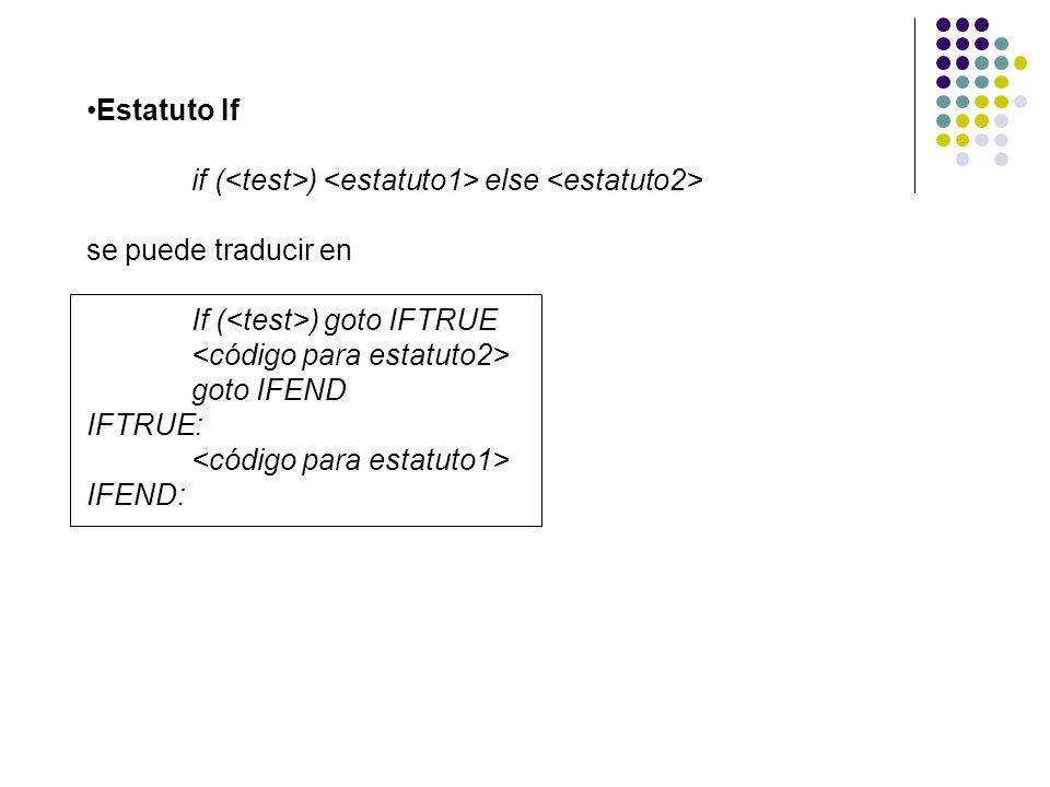 Estatuto If if (<test>) <estatuto1> else <estatuto2> se puede traducir en. If (<test>) goto IFTRUE.