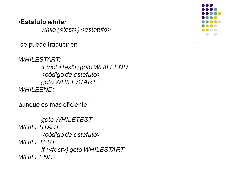Estatuto while: while (<test>) <estatuto> se puede traducir en. WHILESTART: if (not <test>) goto WHILEEND.