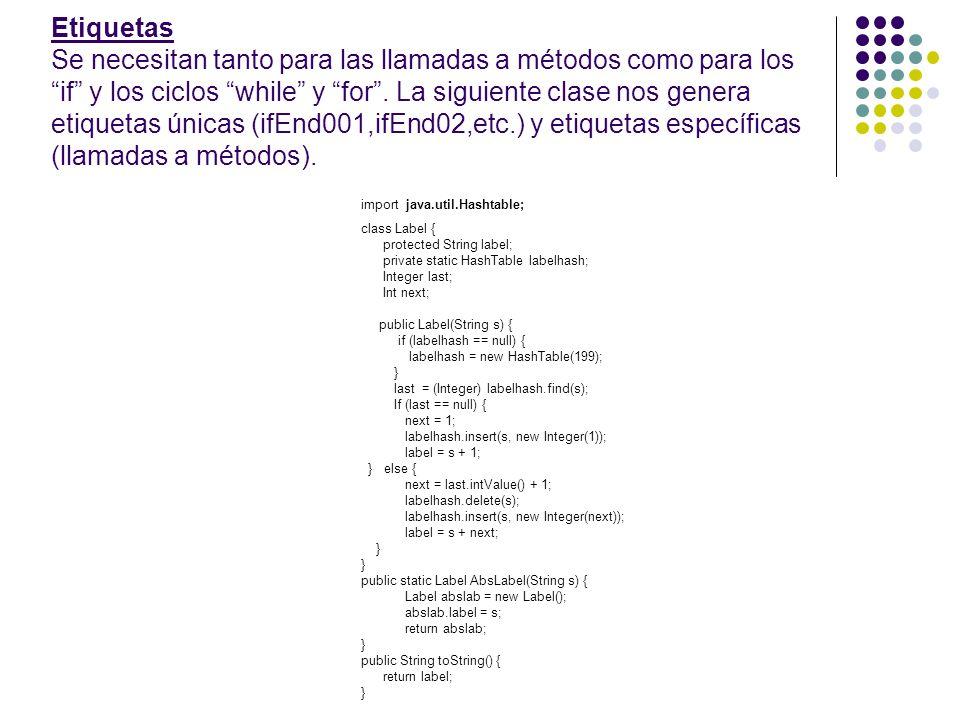 Etiquetas Se necesitan tanto para las llamadas a métodos como para los if y los ciclos while y for . La siguiente clase nos genera etiquetas únicas (ifEnd001,ifEnd02,etc.) y etiquetas específicas (llamadas a métodos).