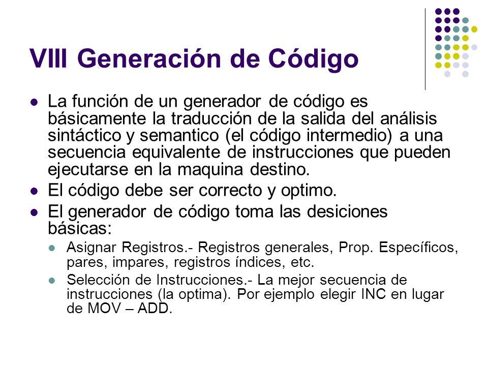 VIII Generación de Código