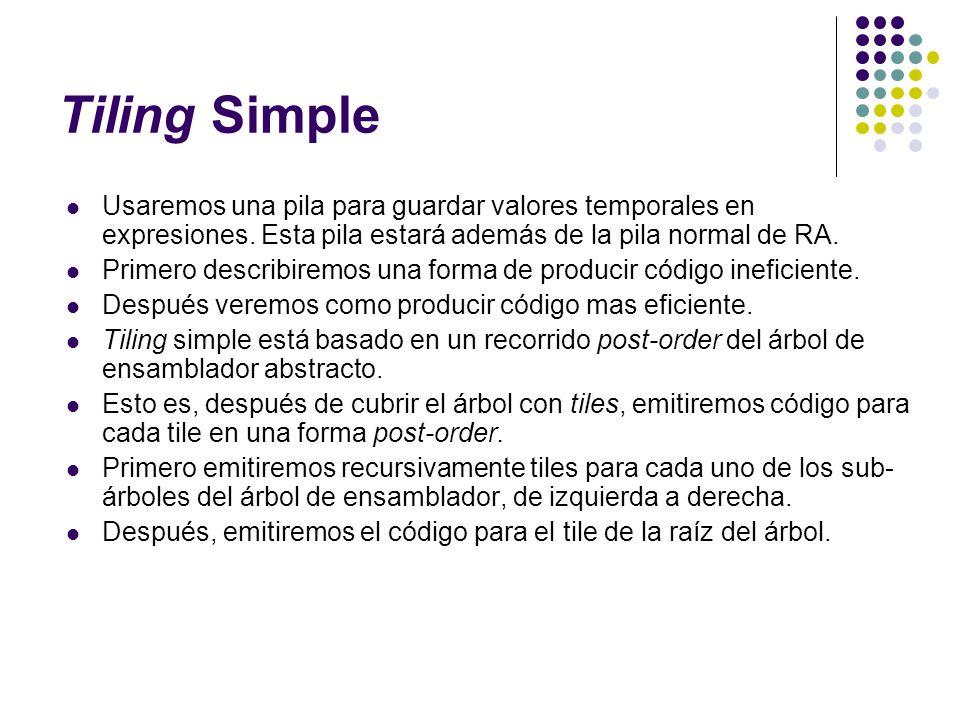 Tiling Simple Usaremos una pila para guardar valores temporales en expresiones. Esta pila estará además de la pila normal de RA.