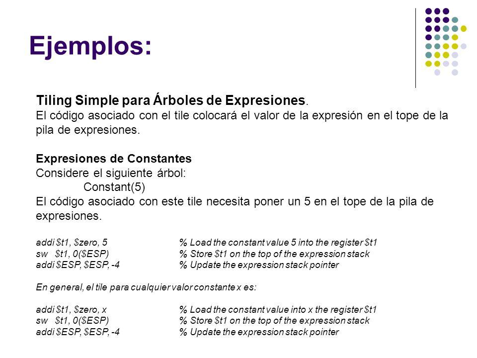 Ejemplos: Tiling Simple para Árboles de Expresiones.