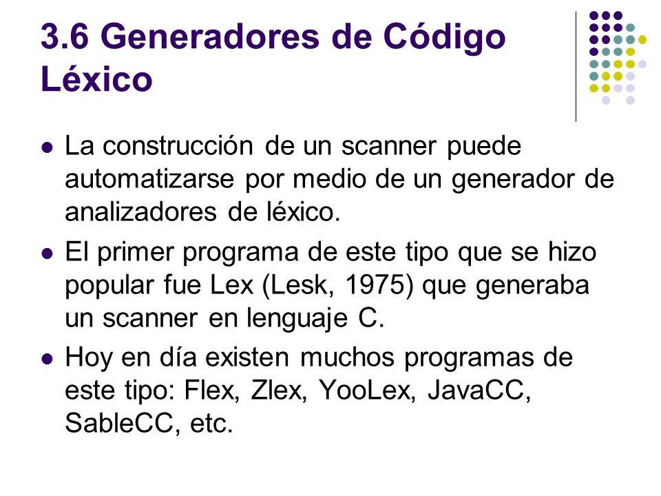 3.6 Generadores de Código Léxico