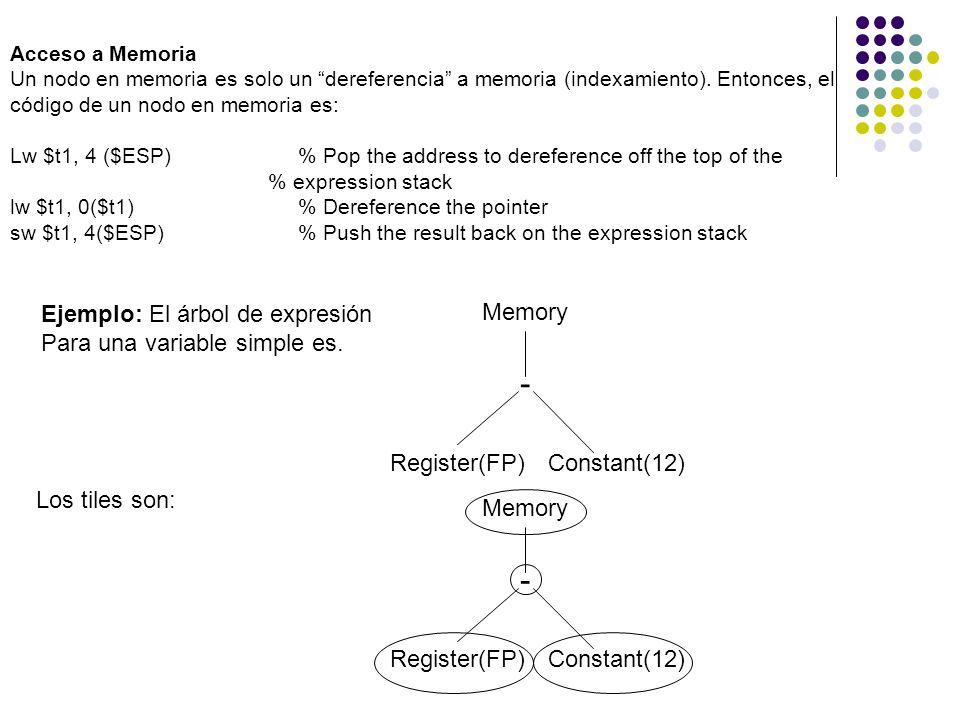 - - Ejemplo: El árbol de expresión Para una variable simple es. Memory