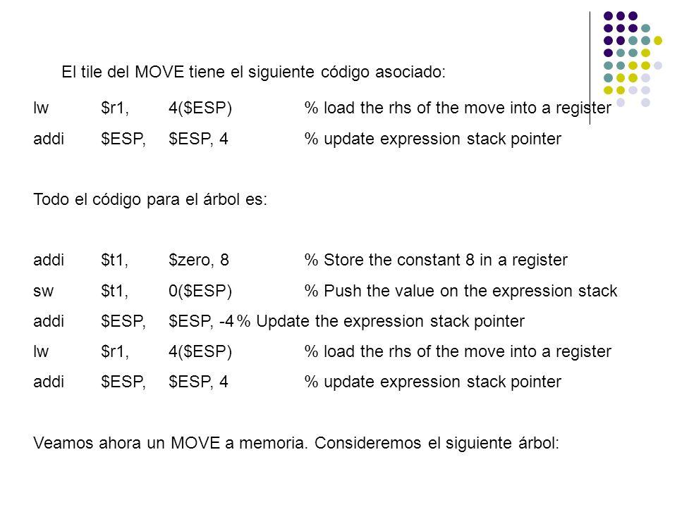El tile del MOVE tiene el siguiente código asociado: