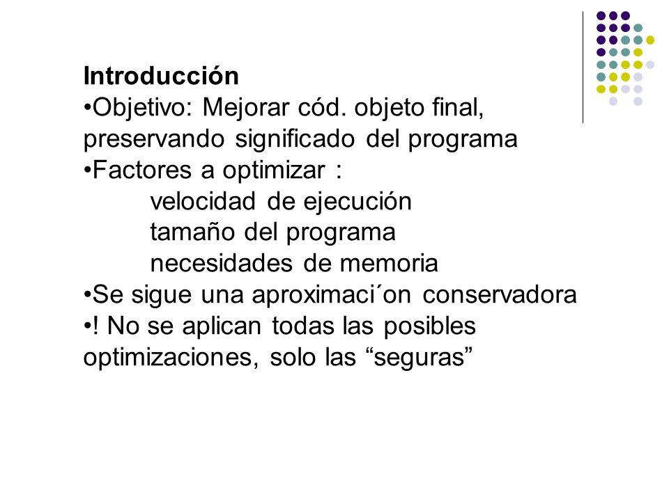 Introducción Objetivo: Mejorar cód. objeto final, preservando significado del programa. Factores a optimizar :