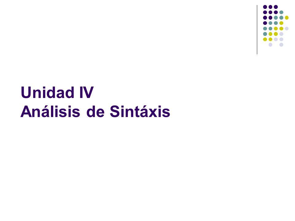 Unidad IV Análisis de Sintáxis