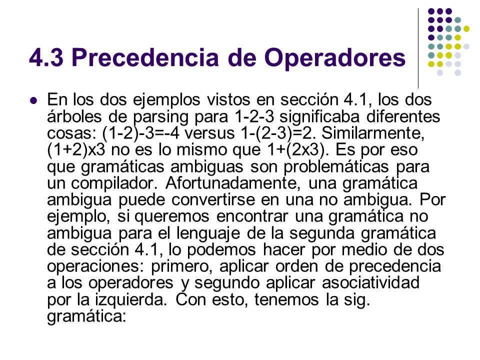 4.3 Precedencia de Operadores