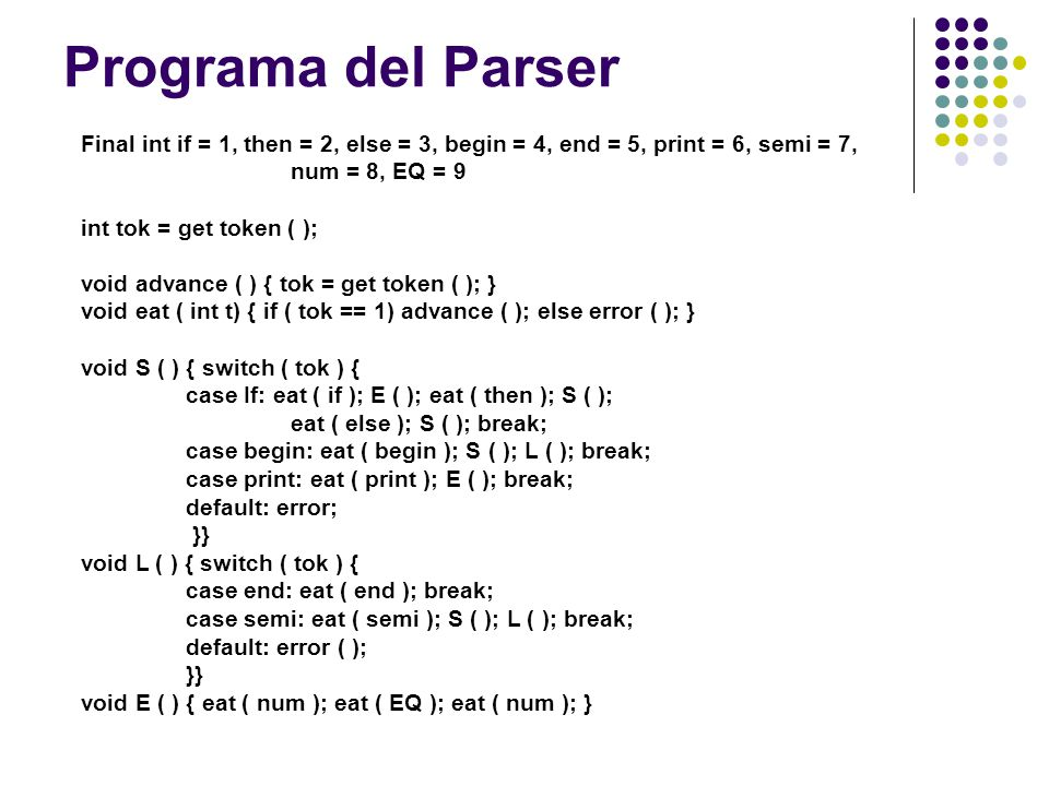 Programa del Parser Final int if = 1, then = 2, else = 3, begin = 4, end = 5, print = 6, semi = 7, num = 8, EQ = 9.