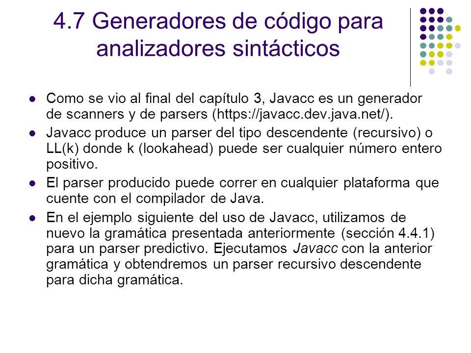 4.7 Generadores de código para analizadores sintácticos
