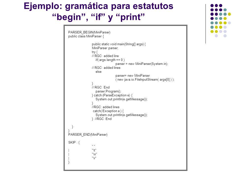 Ejemplo: gramática para estatutos begin , if y print