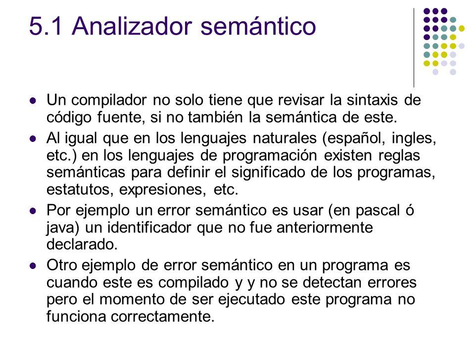 5.1 Analizador semántico Un compilador no solo tiene que revisar la sintaxis de código fuente, si no también la semántica de este.