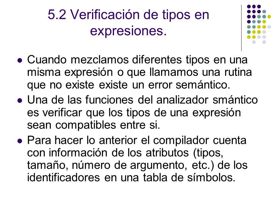 5.2 Verificación de tipos en expresiones.