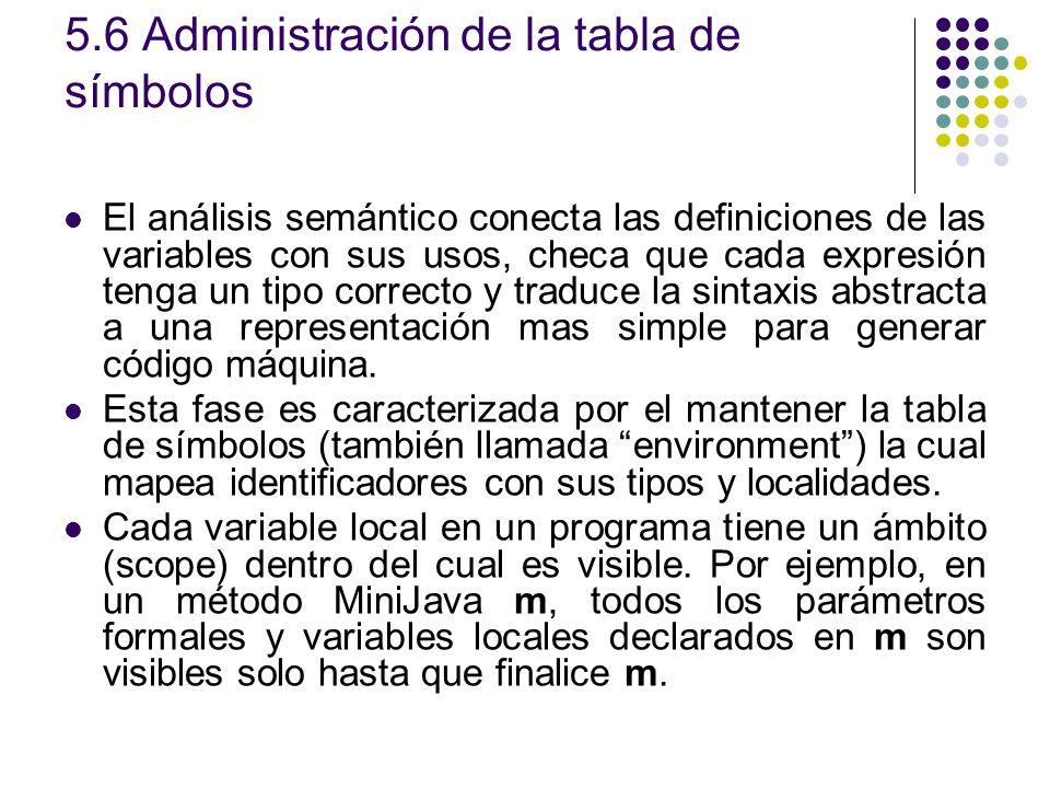 5.6 Administración de la tabla de símbolos