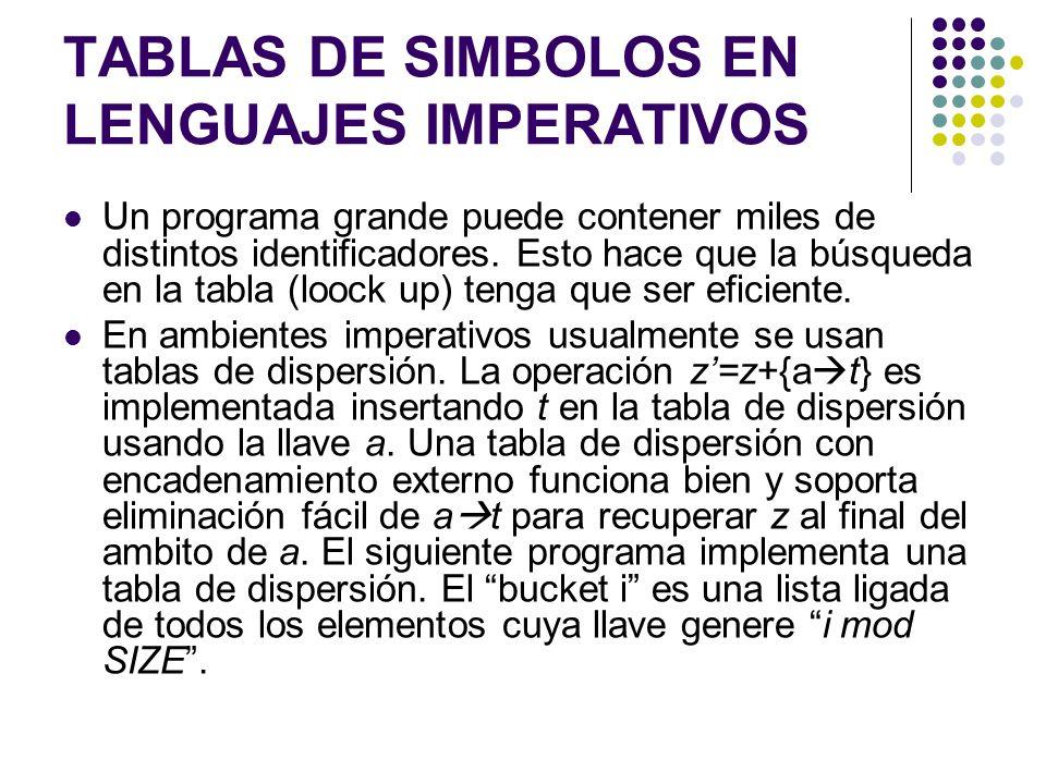 TABLAS DE SIMBOLOS EN LENGUAJES IMPERATIVOS