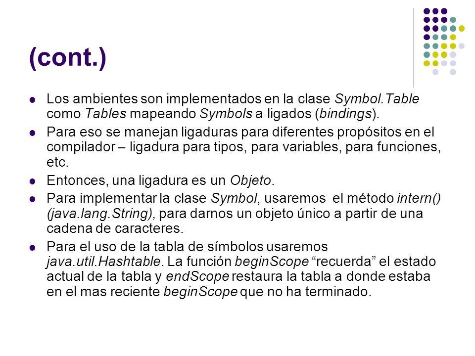 (cont.) Los ambientes son implementados en la clase Symbol.Table como Tables mapeando Symbols a ligados (bindings).