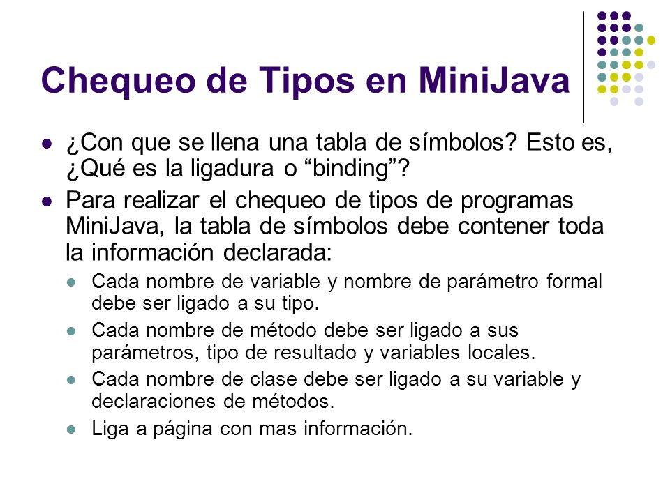 Chequeo de Tipos en MiniJava