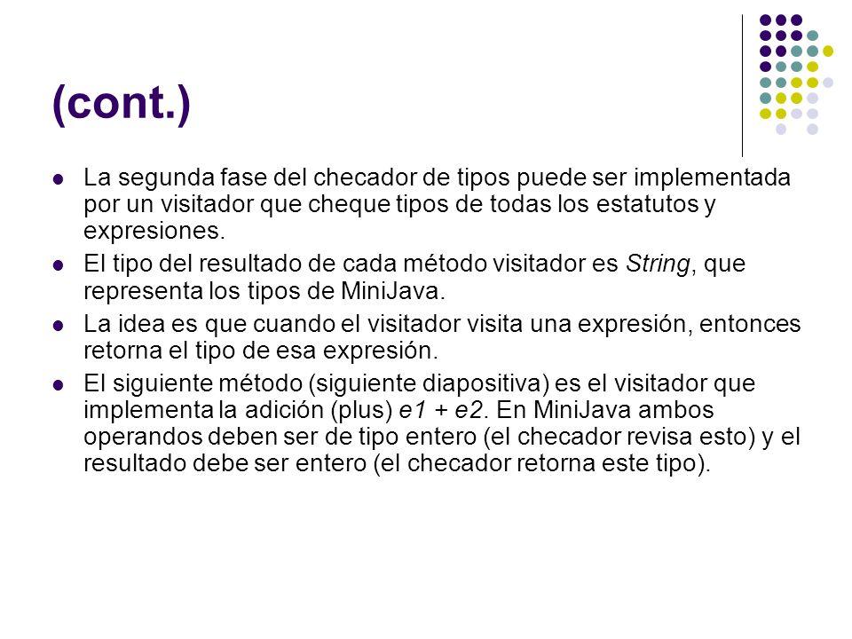 (cont.) La segunda fase del checador de tipos puede ser implementada por un visitador que cheque tipos de todas los estatutos y expresiones.