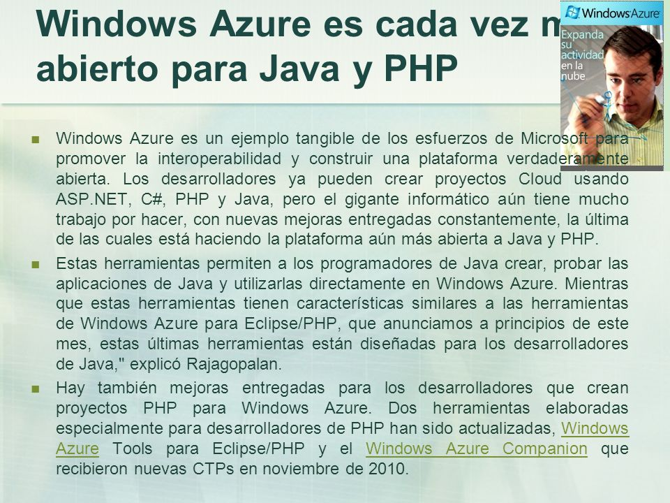 Windows Azure es cada vez más abierto para Java y PHP