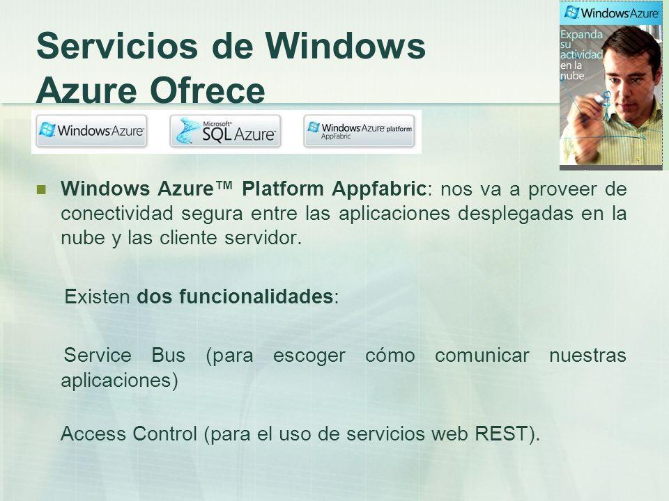 Servicios de Windows Azure Ofrece