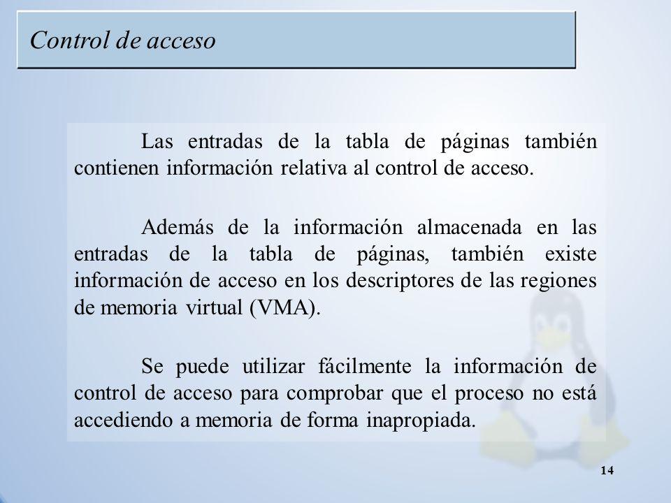 Control de acceso Las entradas de la tabla de páginas también contienen información relativa al control de acceso.
