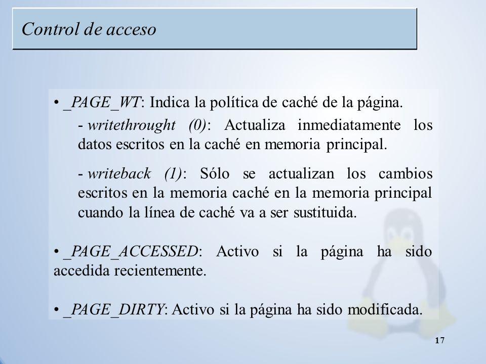 Control de acceso _PAGE_WT: Indica la política de caché de la página.