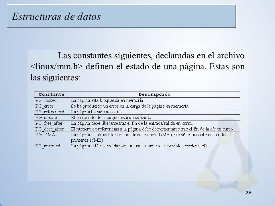 Estructuras de datos Las constantes siguientes, declaradas en el archivo <linux/mm.h> definen el estado de una página. Estas son las siguientes: