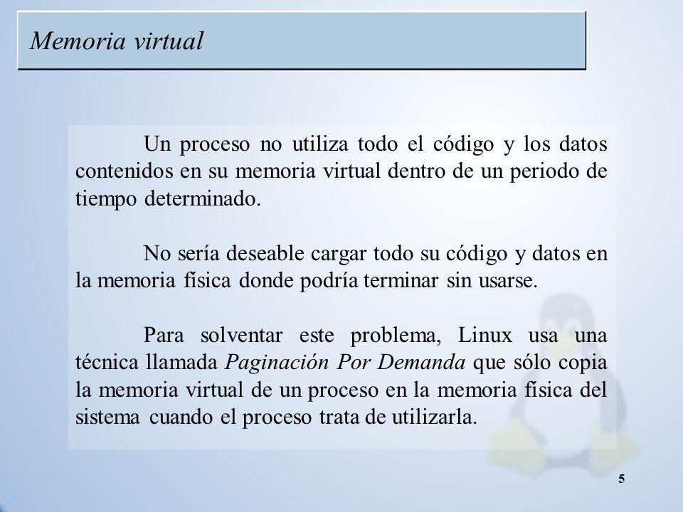 Memoria virtual Un proceso no utiliza todo el código y los datos contenidos en su memoria virtual dentro de un periodo de tiempo determinado.