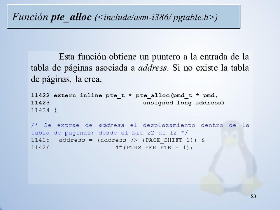Función pte_alloc (<include/asm-i386/ pgtable.h>)