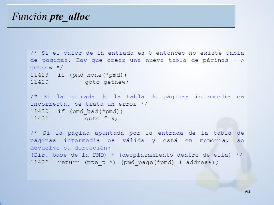 Función pte_alloc /* Si el valor de la entrada es 0 entonces no existe tabla de páginas. Hay que crear una nueva tabla de páginas --> getnew */