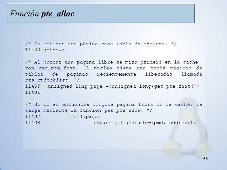 Función pte_alloc /* Se obtiene una página para tabla de páginas. */
