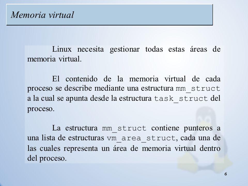 Memoria virtual Linux necesita gestionar todas estas áreas de memoria virtual.