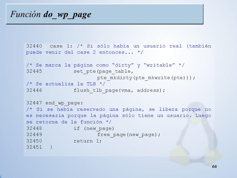 Función do_wp_page 32440 case 1: /* Si sólo había un usuario real (también puede venir del case 2 entonces... */