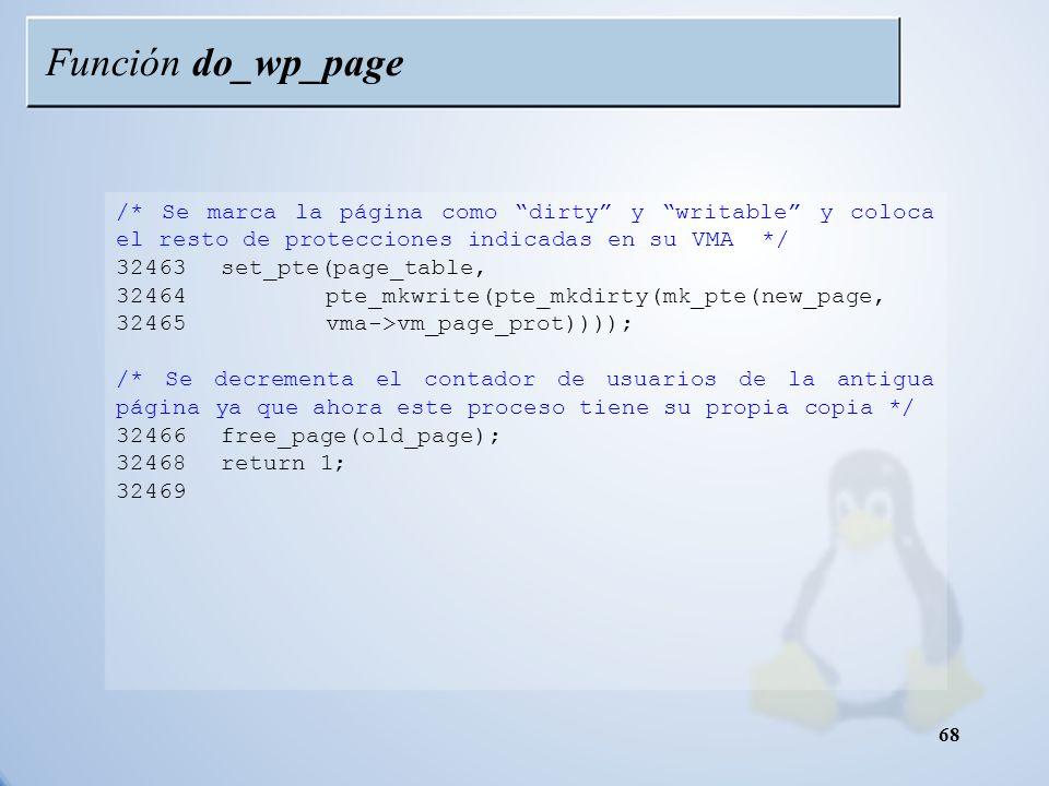 Función do_wp_page /* Se marca la página como dirty y writable y coloca el resto de protecciones indicadas en su VMA */