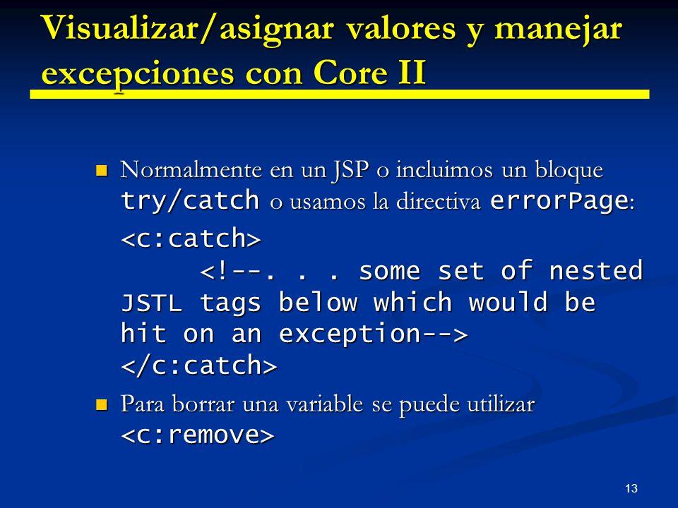 Visualizar/asignar valores y manejar excepciones con Core II