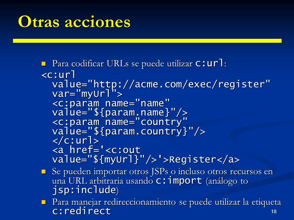 Otras acciones Para codificar URLs se puede utilizar c:url: