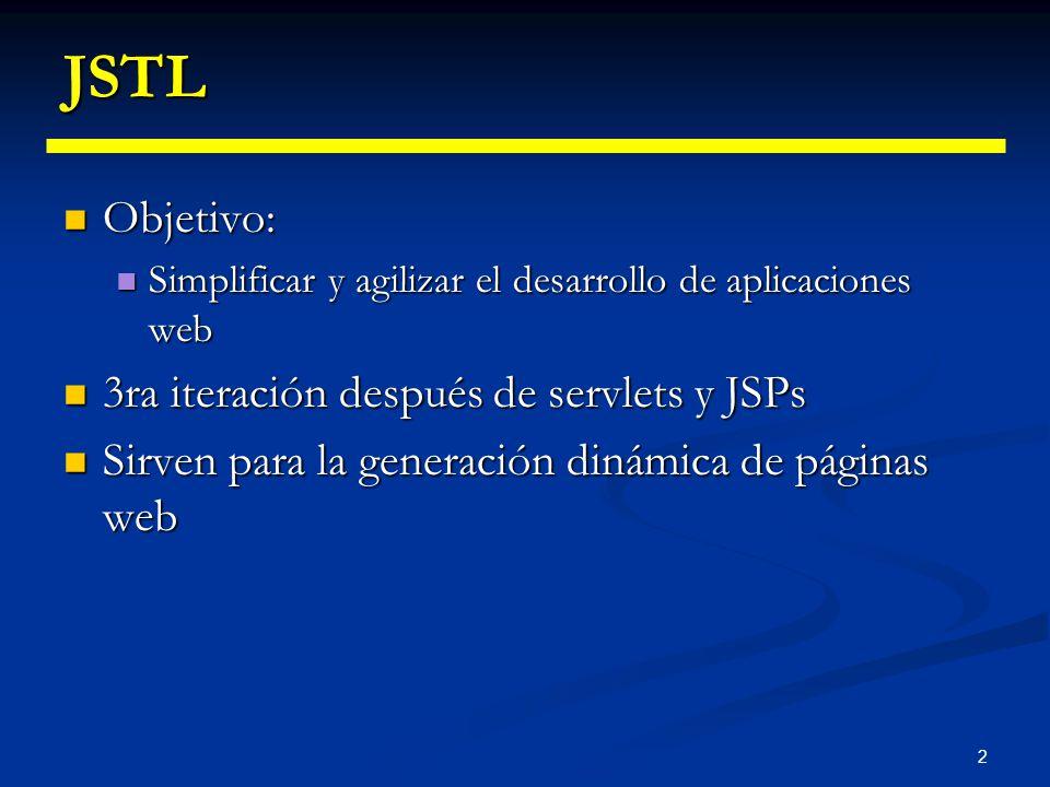 JSTL Objetivo: 3ra iteración después de servlets y JSPs
