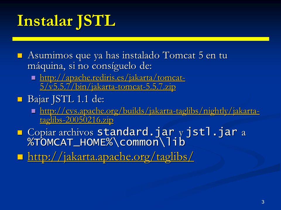 Instalar JSTL http://jakarta.apache.org/taglibs/