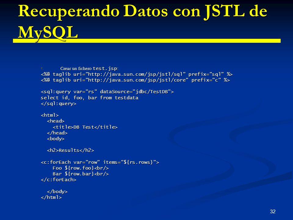 Recuperando Datos con JSTL de MySQL