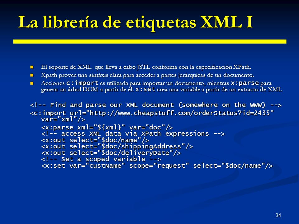 La librería de etiquetas XML I