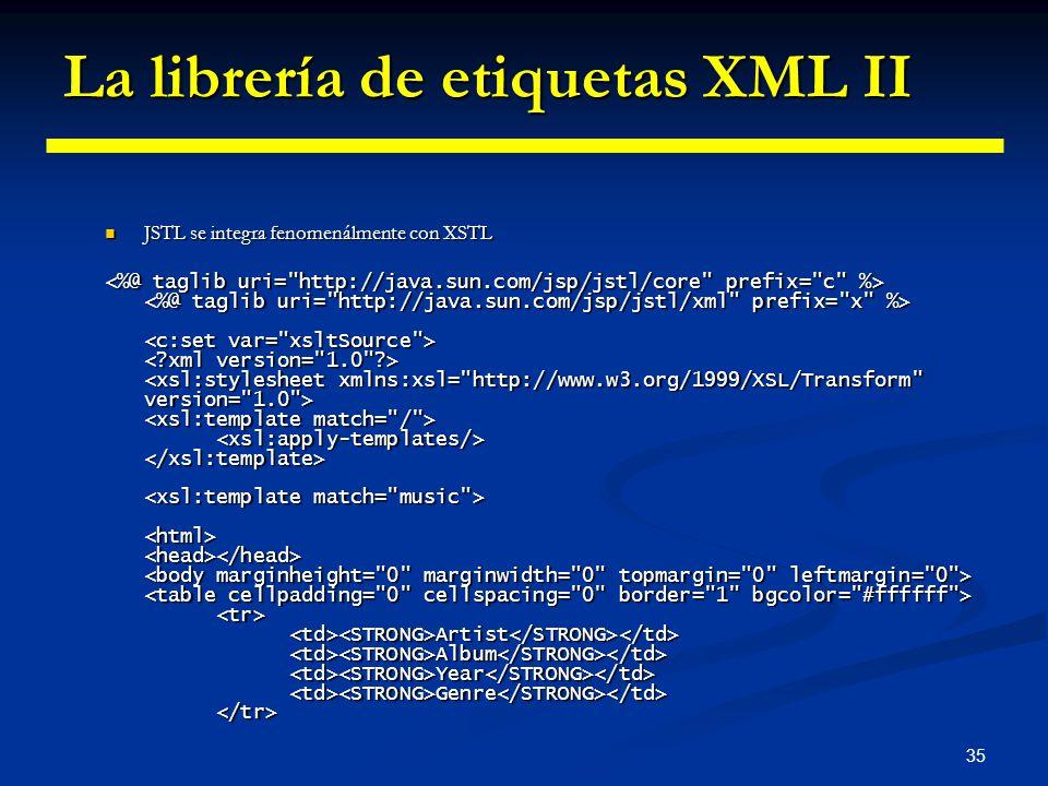La librería de etiquetas XML II
