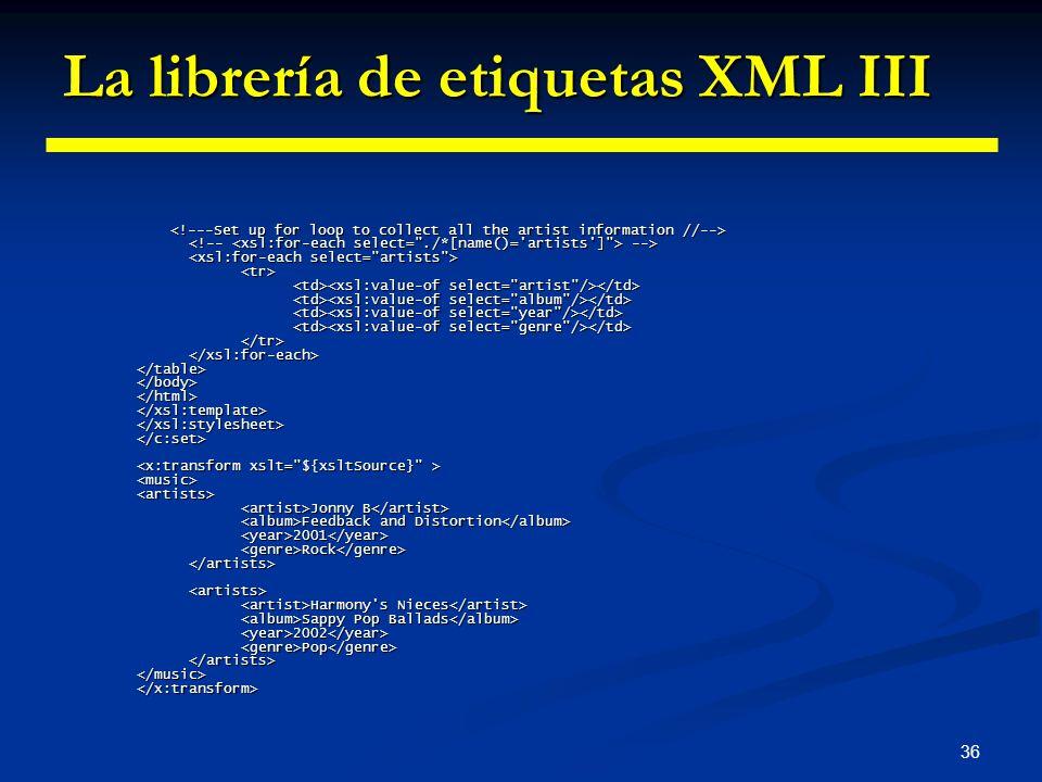 La librería de etiquetas XML III