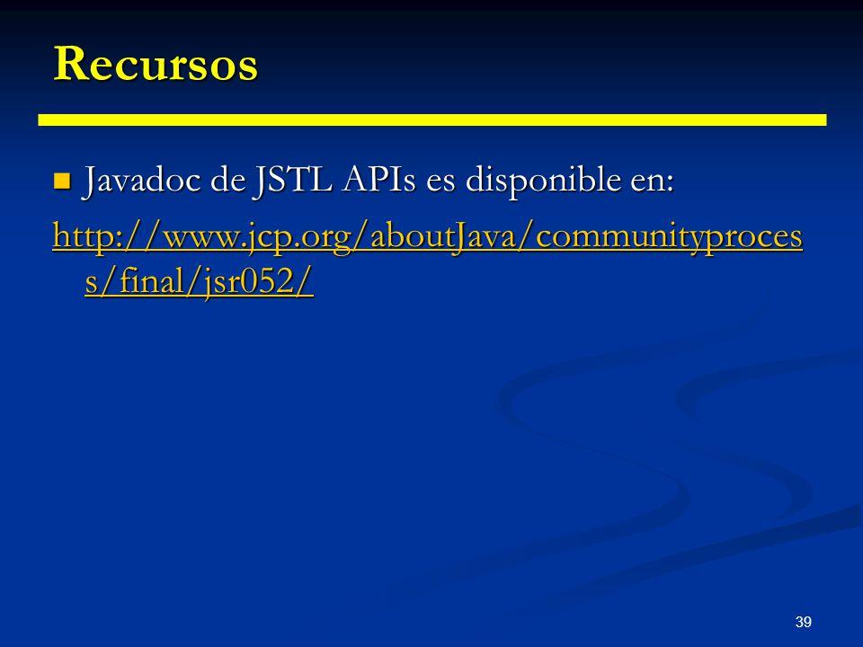 Recursos Javadoc de JSTL APIs es disponible en: